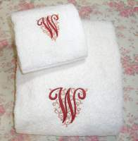 BATH AND HAND TOWEL 1 LETTER MONOGRAM